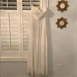 Donna Morgan strapless silk chiffon white dress